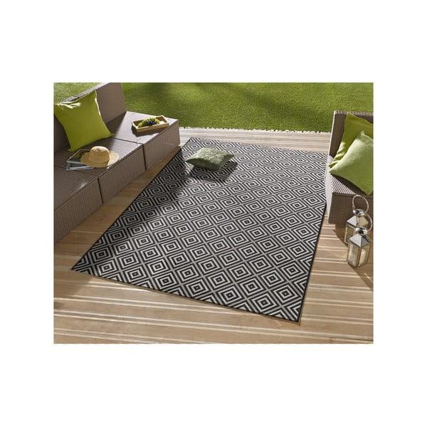 Černý koberec vhodný i na ven Karo, 140x200cm
