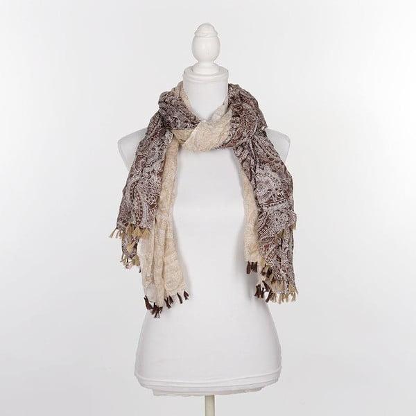 Šátek/pareo BLE Inart 100x180 cm, béžový/hnědý