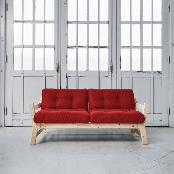 Rozkládací pohovka Karup Step Natural/Passion Red