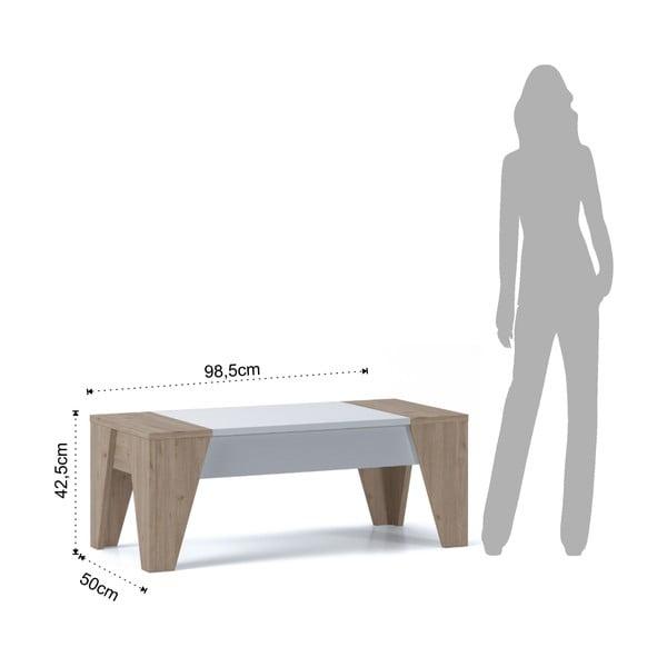 Hnědo-bílý konferenční stolek s výklopnou deskou Tomasucci James
