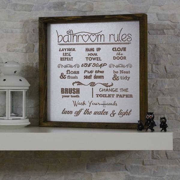 Nástěnný obraz Bathroom Rules, 34 x 34 cm