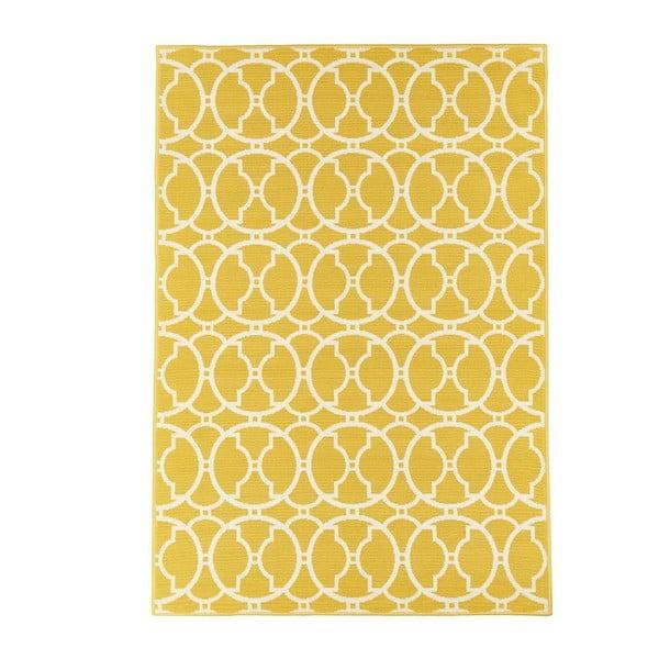 Žlutý vysoce odolný koberec vhodný do exteriéru Webtappeti Interlaced, 133x190cm