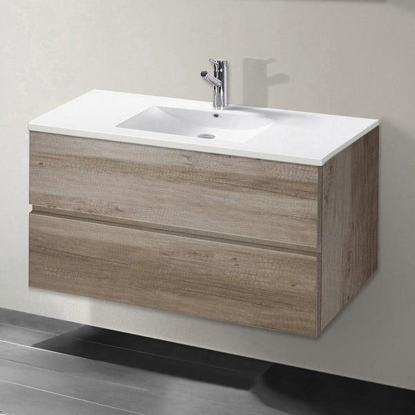 Koupelnová skříňka s umyvadlem a zrcadlem Flopy, dekor dubu, 80 cm