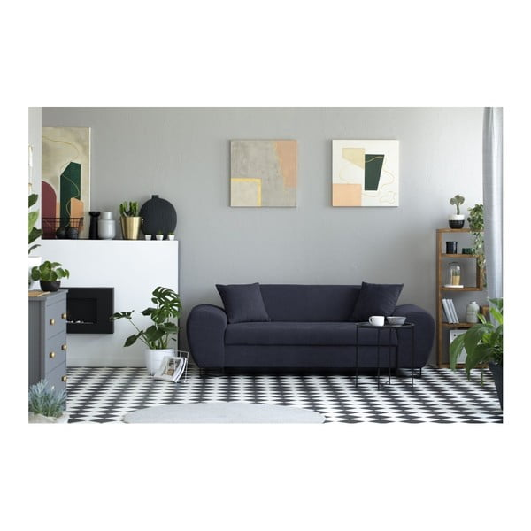 Tmavě modrá trojmístná pohovka s černými nohami Kooko Home Piano