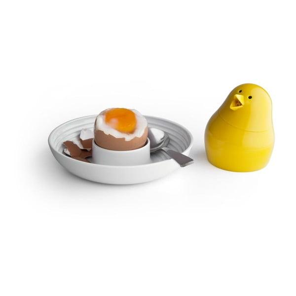 Zelená slánka s bílou miskou na vajíčko Qualy&CO Jib-Jib Shaker