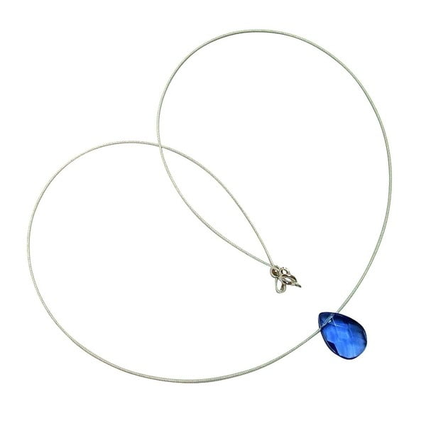 Stříbrný náhrdelník Teardrop Aqua Blue Topaz (topaz)