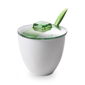 Zelenobílá cukřenka se lžičkou
