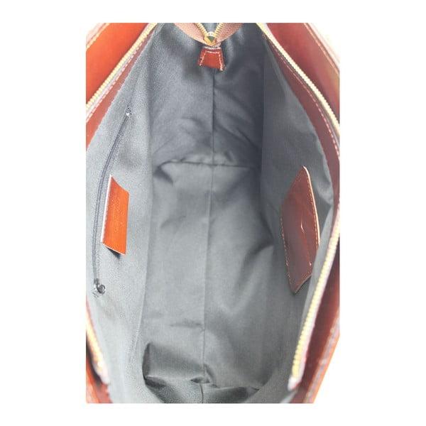 Hnědá kožená taška Chicca Borse Stefania