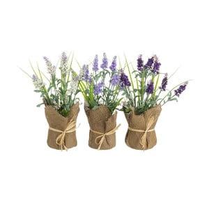Sada 3 umělých květin v květináčích Unimasa Levander