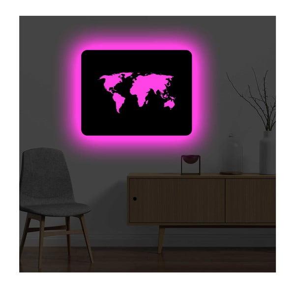 Nástěnná světelná dekorace World, 82 x 67 cm