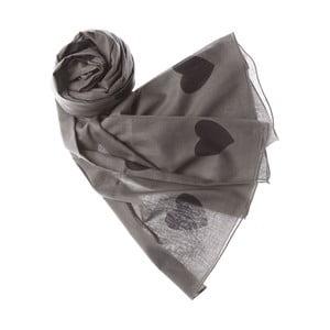 Šátek Jumbo Heart Grey, 200x100 cm