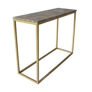 Konzolový stolek s podnožím ve zlaté barvě a hnědou mramorovou deskou RGE Accent
