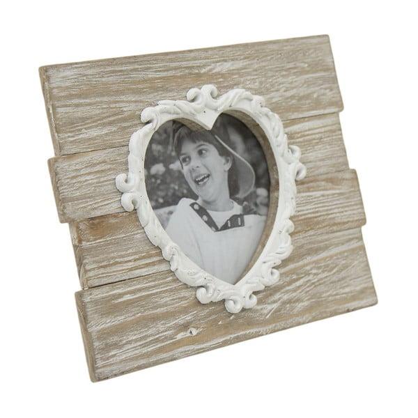 Drewniana ramka na zdjęcie w kształcie serca Ego Dekor, 25x19 cm