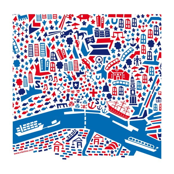 Nástěnná mapa Hamburg, 100x70 cm