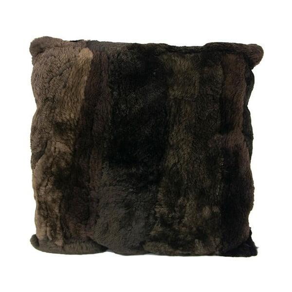 Kožešinový polštář 45x45 cm, hnědočerný