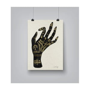 Poster Americanflat Palmistry in Gold, 30 x 42 cm