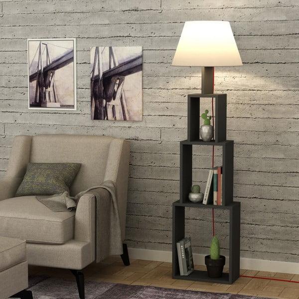Antracitová volně stojící lampa se světle šedým stínítkem Homitis Tower
