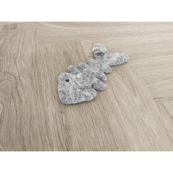 Sivá vlnená hračka pre mačky v tvare rybej kostry Wooldot Cat Fish Bone, dĺžka 12 cm
