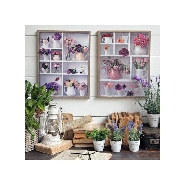 Nástěnná dekorace Flowers, 2 ks