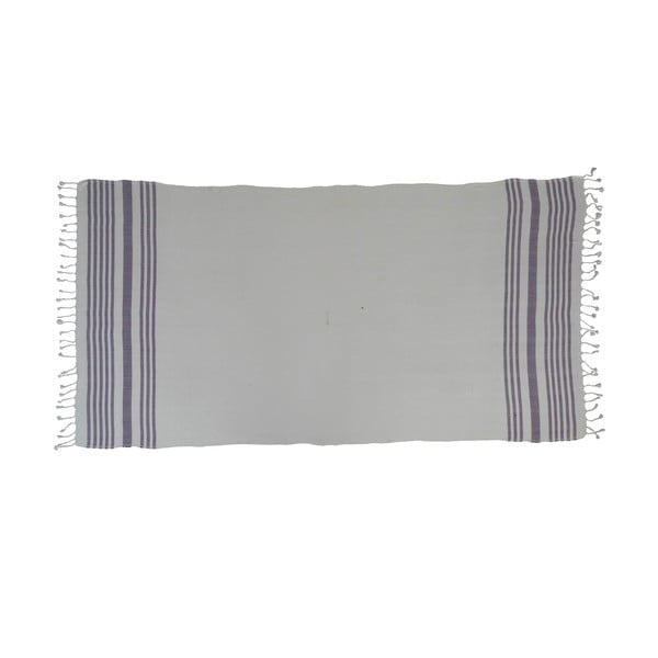 Prosop țesut manual din bumbac premium Petek, 100 x 80 cm, violet - alb