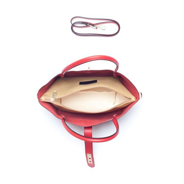 Červená kožená kabelka Mangotti Walleriana