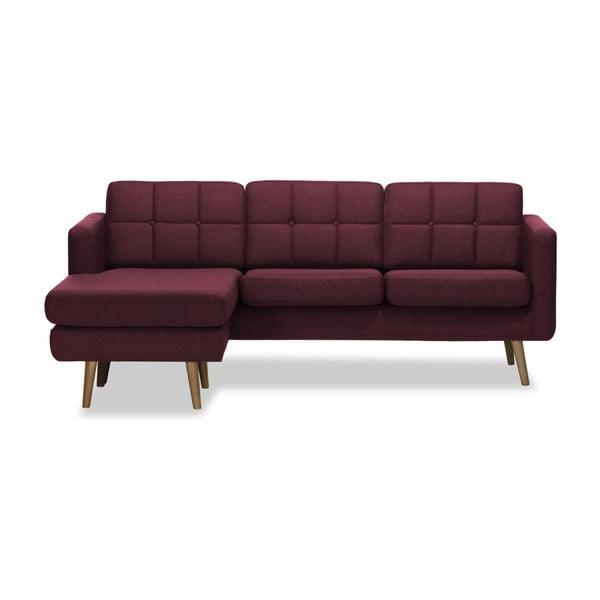 Burgundowa lewostronna 3-osobowa sofa narożna Vivonita Magnus