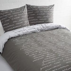 Šedé bavlněné povlečení na dvoulůžko Ekkelboom Tekst, 240 x 200 cm