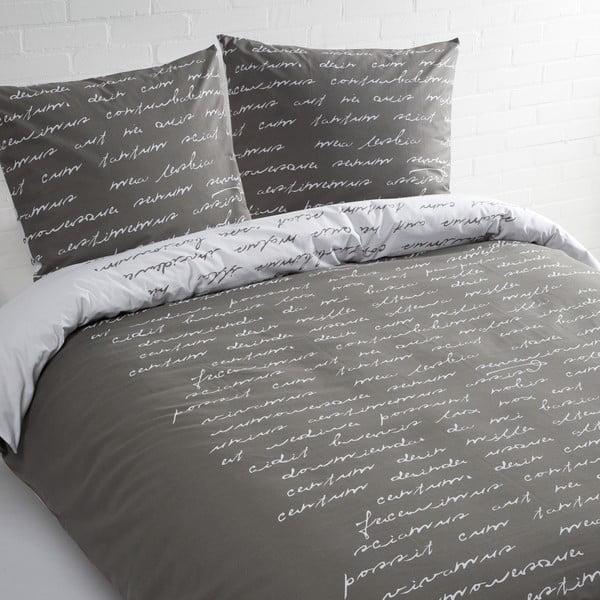 Šedé bavlněné povlečení na jednolůžko Ekkelboom Text, 140 x 200 cm