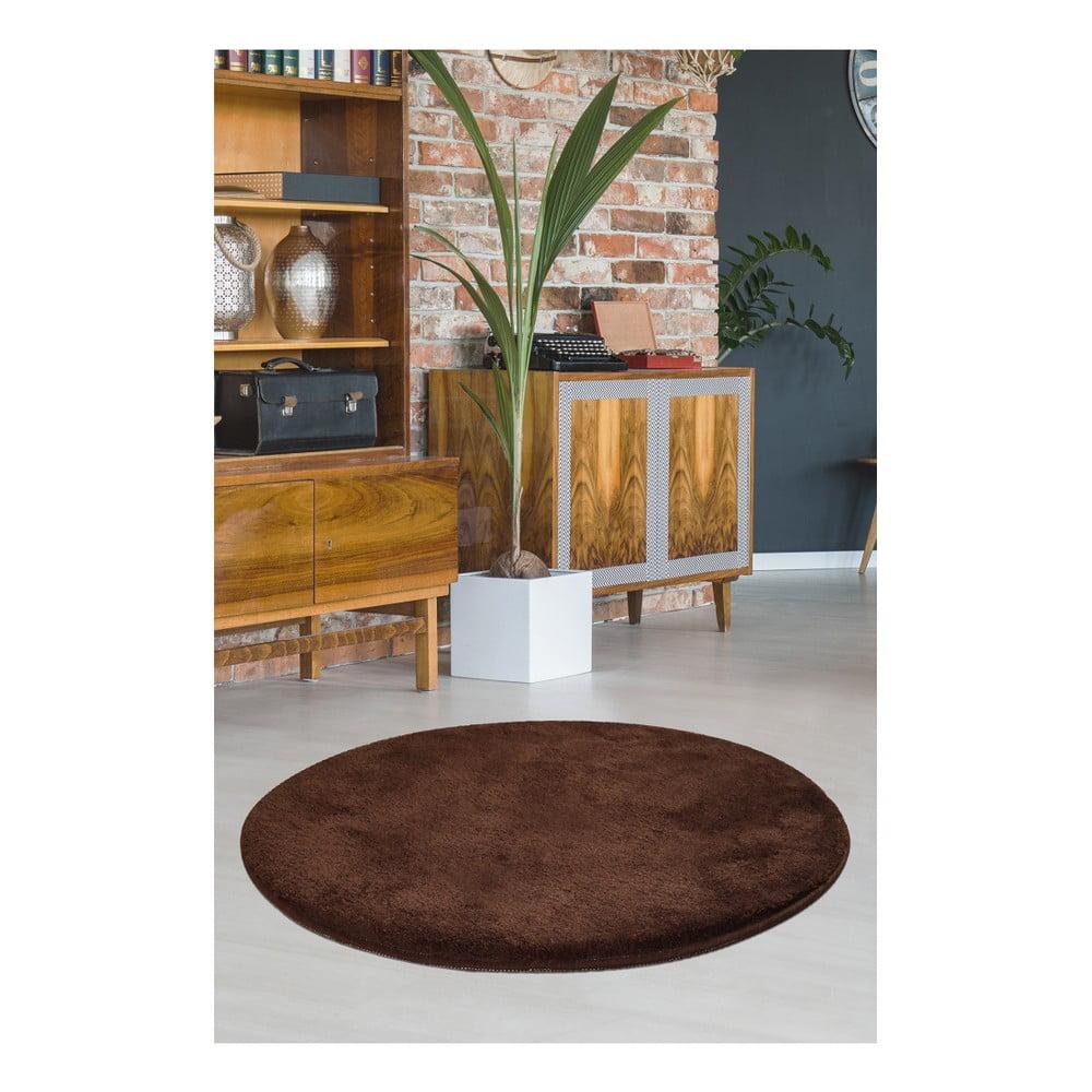 Hnědý koberec Milano, ⌀ 90 cm