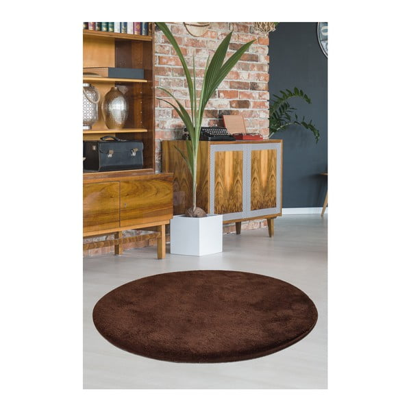Hnědý koberec Milano, ⌀90cm