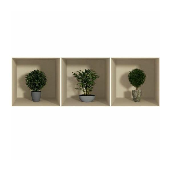 Set 3 autocolante cu efect 3D Ambiance Small Bushes