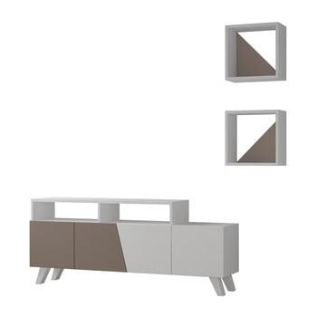 Set masă TV și 2 rafturi de perete Homitis Cafune, gri de la Homitis