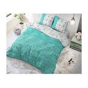 Zeleno-bílé bavlněné povlečení na jednolůžko Sleeptime Gino,140x220cm