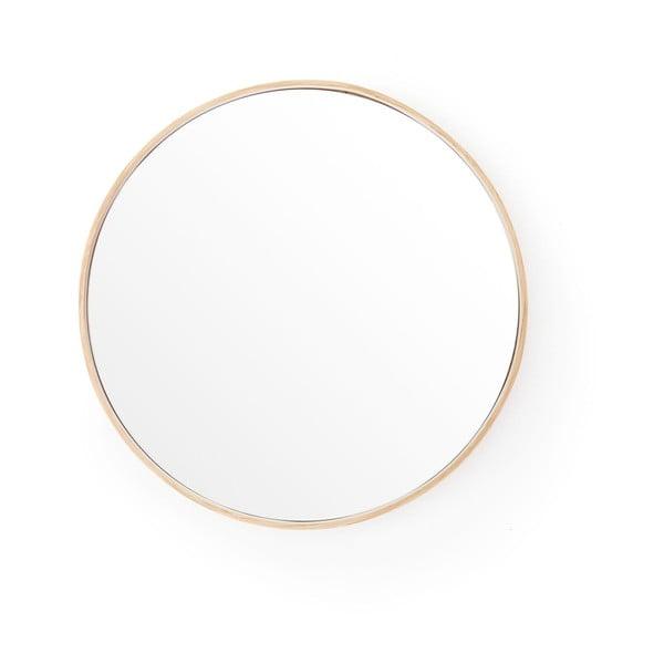 Nástěnné zrcadlo srámem zdubového dřeva Wireworks Glance, ⌀31 cm