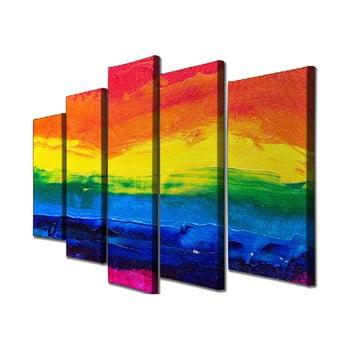 Tablou pe pânză din 5 piese Colorful Sunset de la Unknown