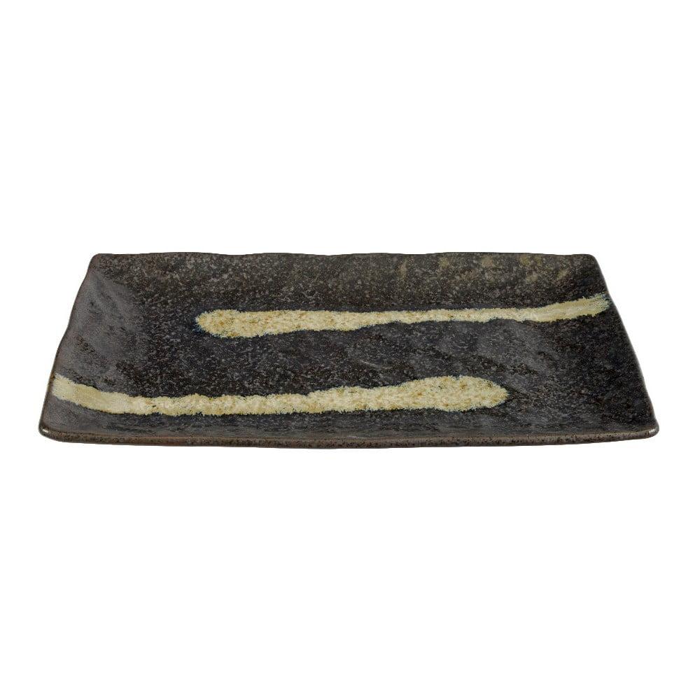 Černý servírovací talíř z porcelánu Tokyo Design Studio Stripe