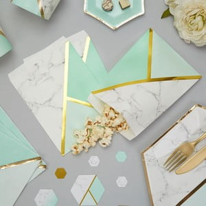 Sada 25 papírových sáčků Neviti Mint Colour Block Marble