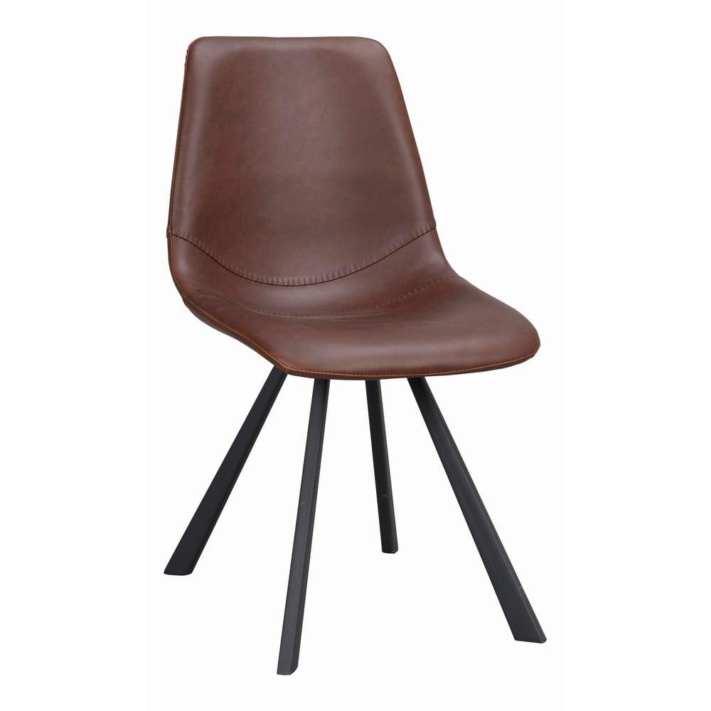 Hnědá jídelní židle s černými nohami Rowico Alpha