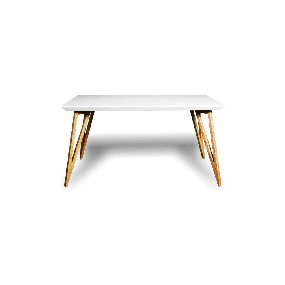 Jídelní stůl z masivního jasanového dřeva s bílou deskou Charlie Pommier Triangle, 200 x 80 cm