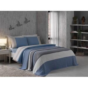 Povlečení Grey and Blue s prostěradlem a přehozem, 160x220 cm