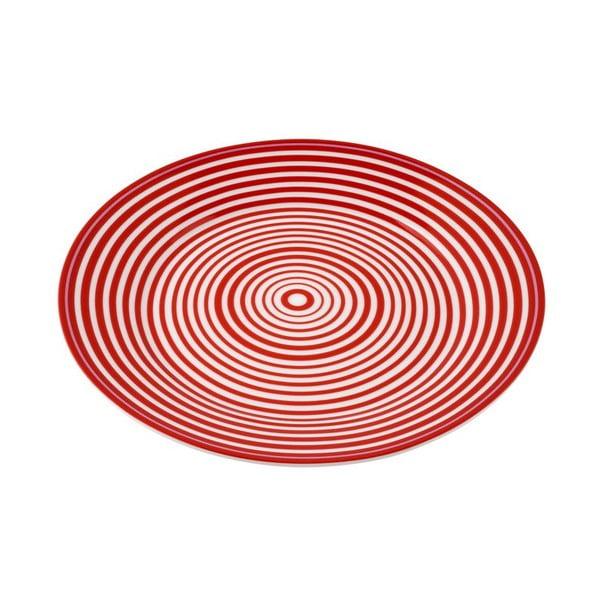 Porcelánový talíř Lines, červený 4 ks
