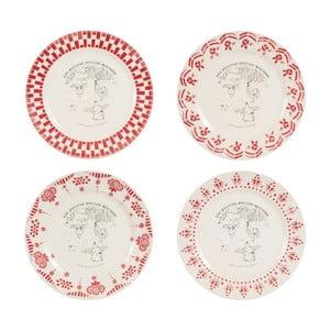 Sada 4 červenobílých dezertních talířů Comptoir de Famille Galline, 21 cm