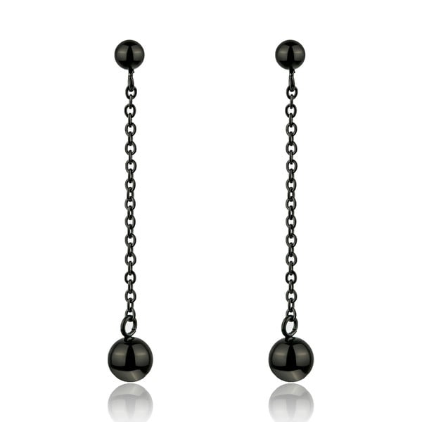 Smooth fekete rozsdamentes acél függő fülbevaló - Emily Westwood