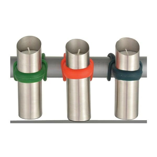 Sada 3 nerezových svícnů na zábradlí Esschert Design Happy