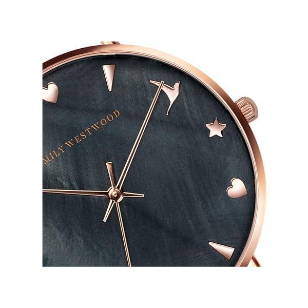 Dámské hodinky s černým páskem z nerezové oceli Emily Westwood Aura