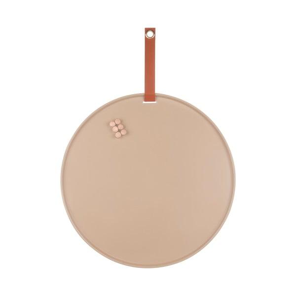 Pieskovohnedá kovová nástenka PT LIVING Perky, ø 50 cm