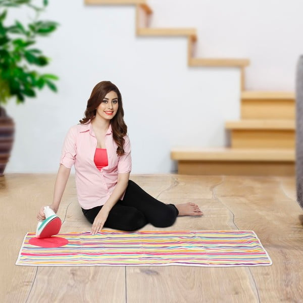 Set žehlicí podložky a zatahovací šňůry na prádlo Bonita Multi Strips Pink