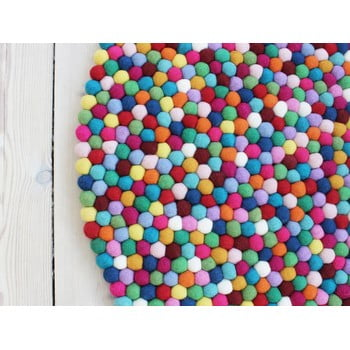 Covor cu bile din lână Wooldot Ball Rugs Multi, ⌀ 120 cm