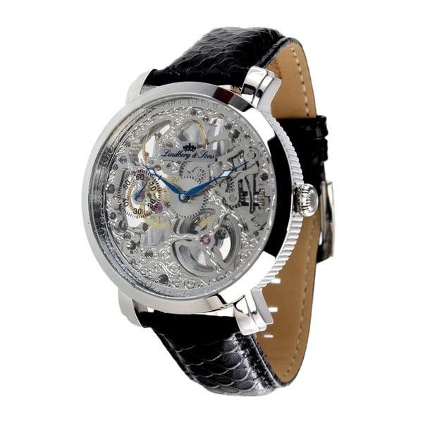 Černo-stříbrné hodinky Lindberg&Sons
