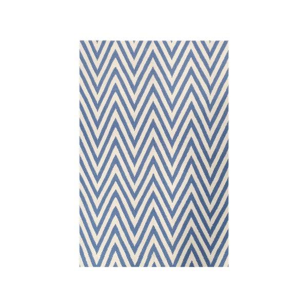 Vlněný koberec Zig Zag Light Blue, 200x140 cm